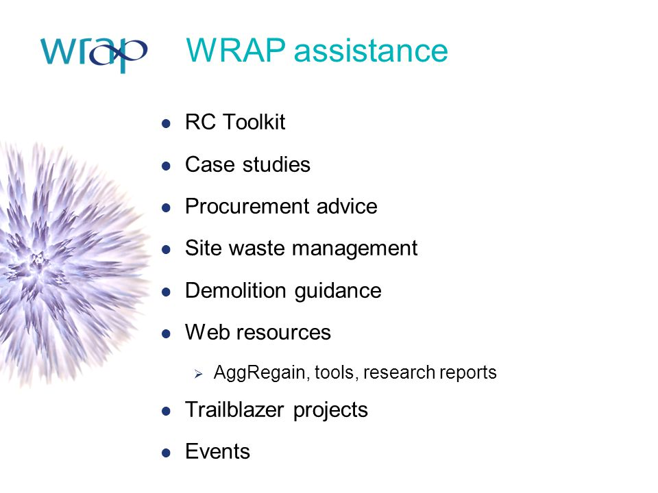 WRAP assistance RC Toolkit Case studies Procurement advice