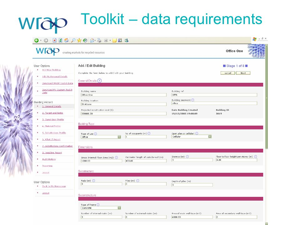 Toolkit – data requirements