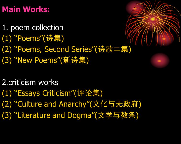 Main Works: 1. poem collection. (1) Poems (诗集) (2) Poems, Second Series (诗歌二集) (3) New Poems (新诗集)