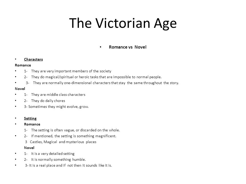 The Victorian Age Romance vs Novel Characters Romance