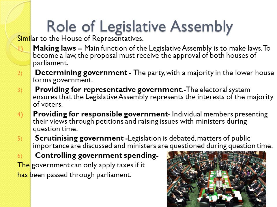 Role of Legislative Assembly
