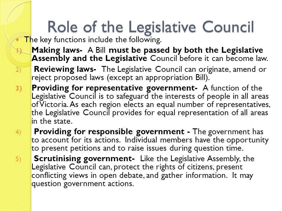 Role of the Legislative Council