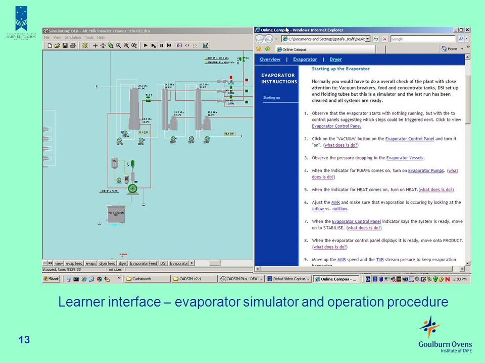 Learner interface – evaporator simulator and operation procedure