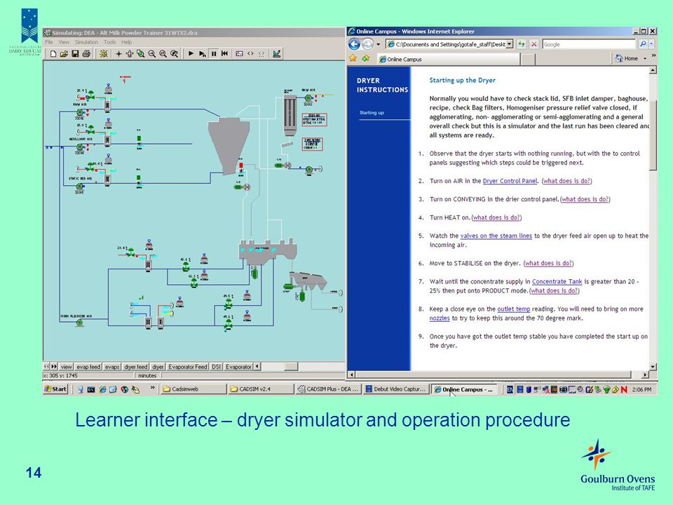 Learner interface – dryer simulator and operation procedure