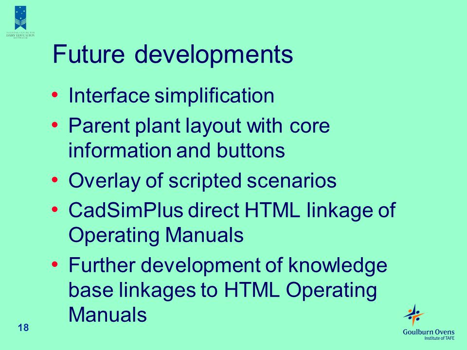Future developments Interface simplification