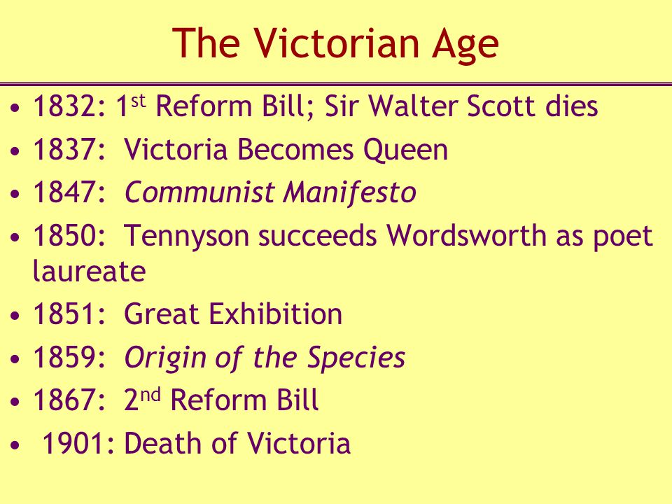 The Victorian Age 1832: 1st Reform Bill; Sir Walter Scott dies