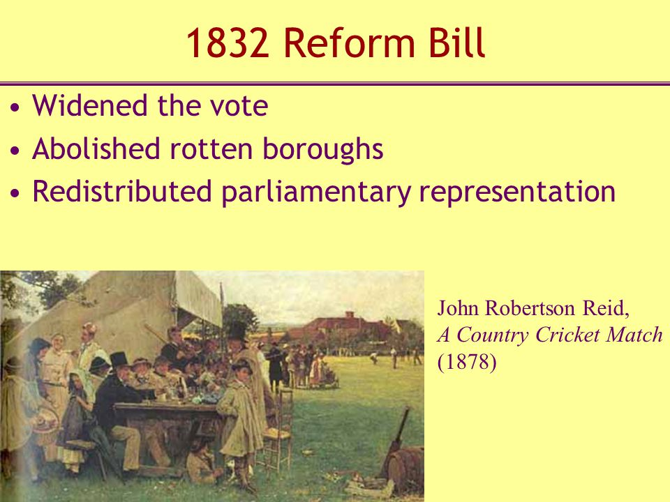 1832 Reform Bill Widened the vote Abolished rotten boroughs