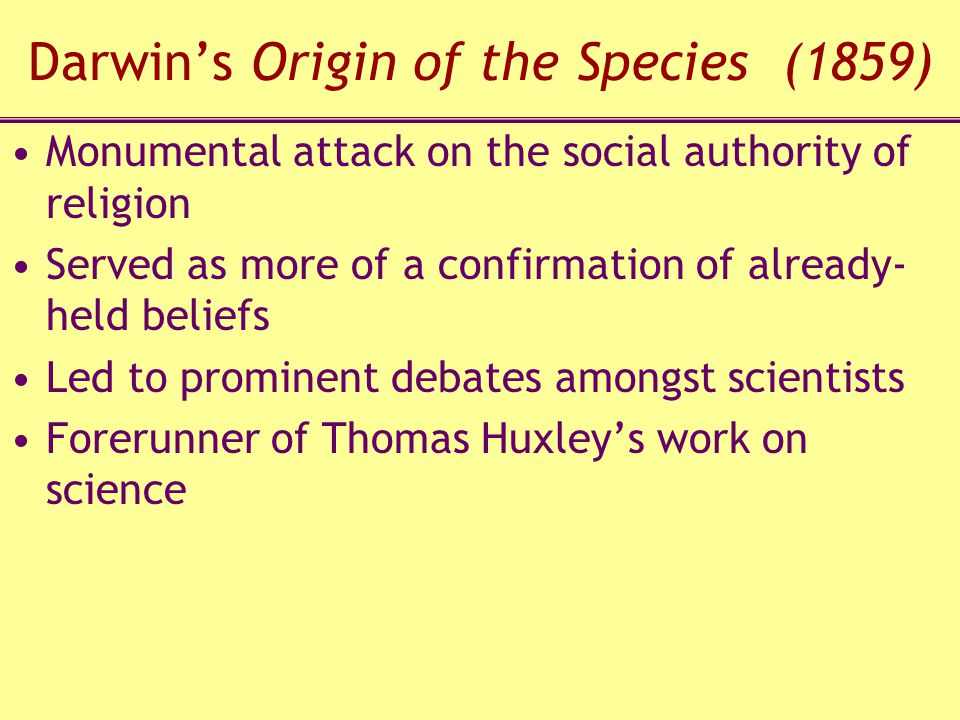 Darwin's Origin of the Species (1859)