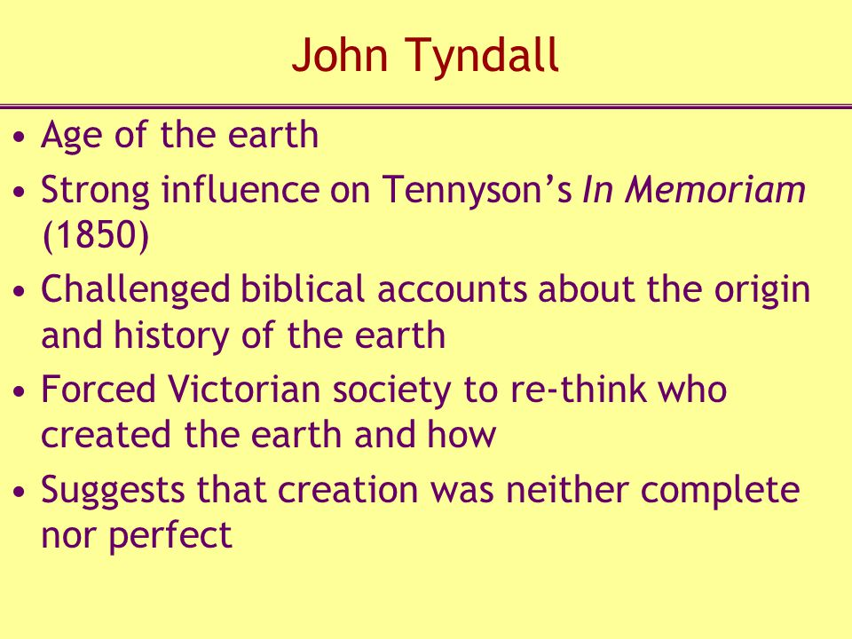 John Tyndall Age of the earth