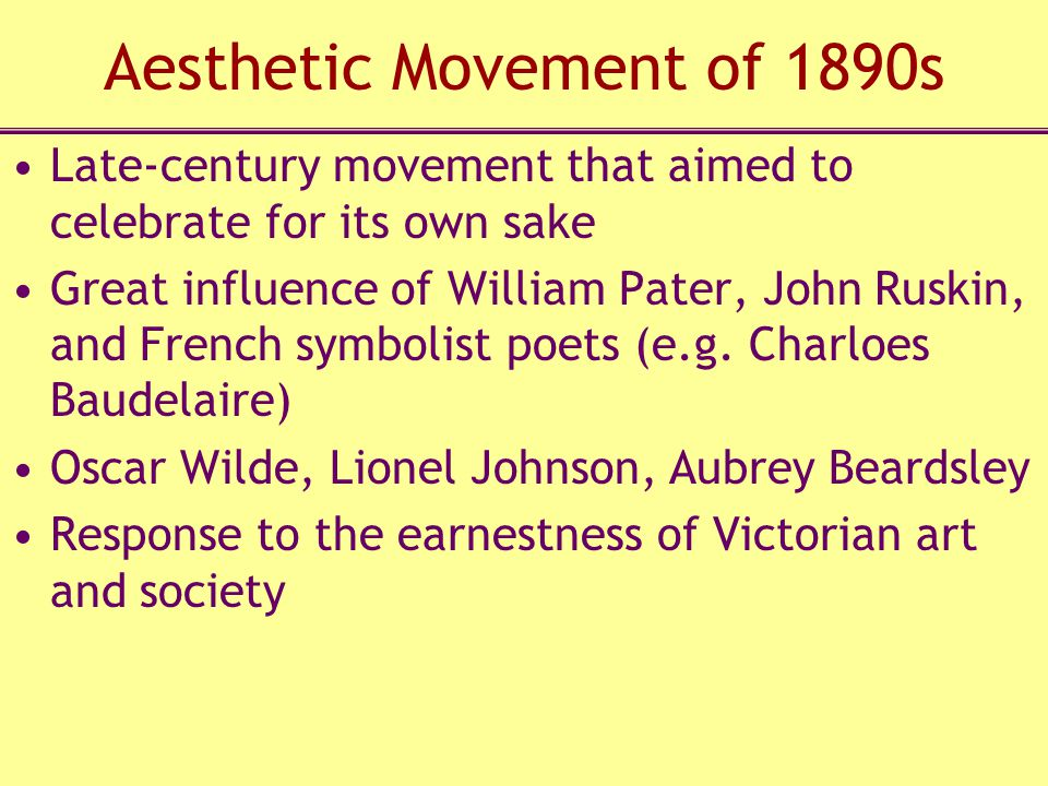 Aesthetic Movement of 1890s