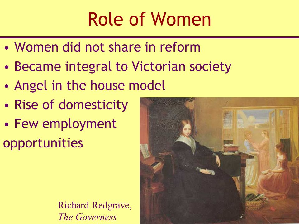 Role of Women Women did not share in reform