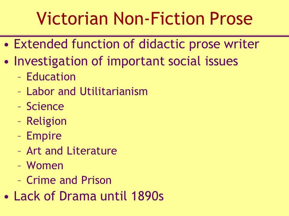Victorian Non-Fiction Prose