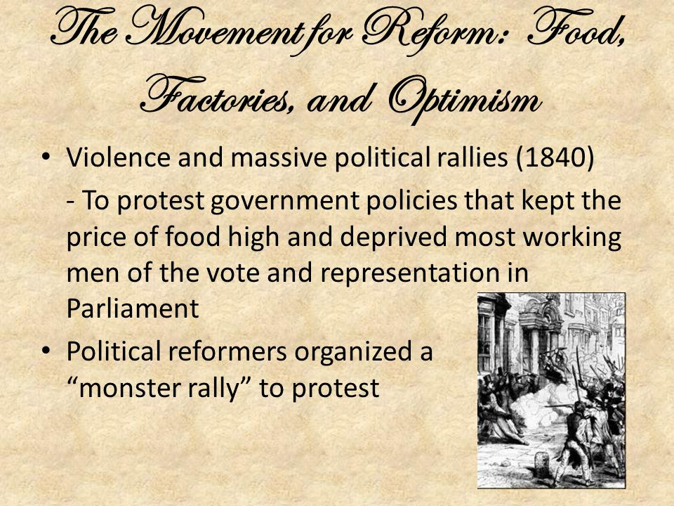 The Movement for Reform: Food, Factories, and Optimism