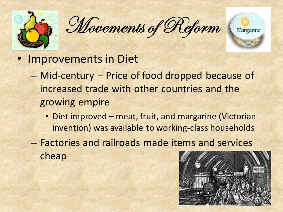 Movements of Reform Improvements in Diet