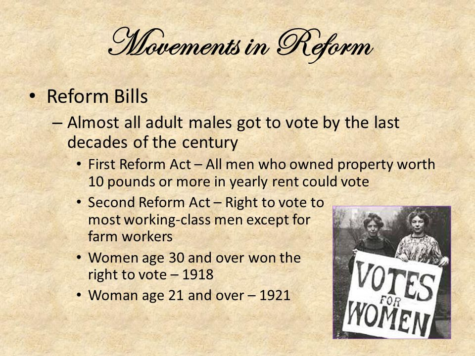 Movements in Reform Reform Bills