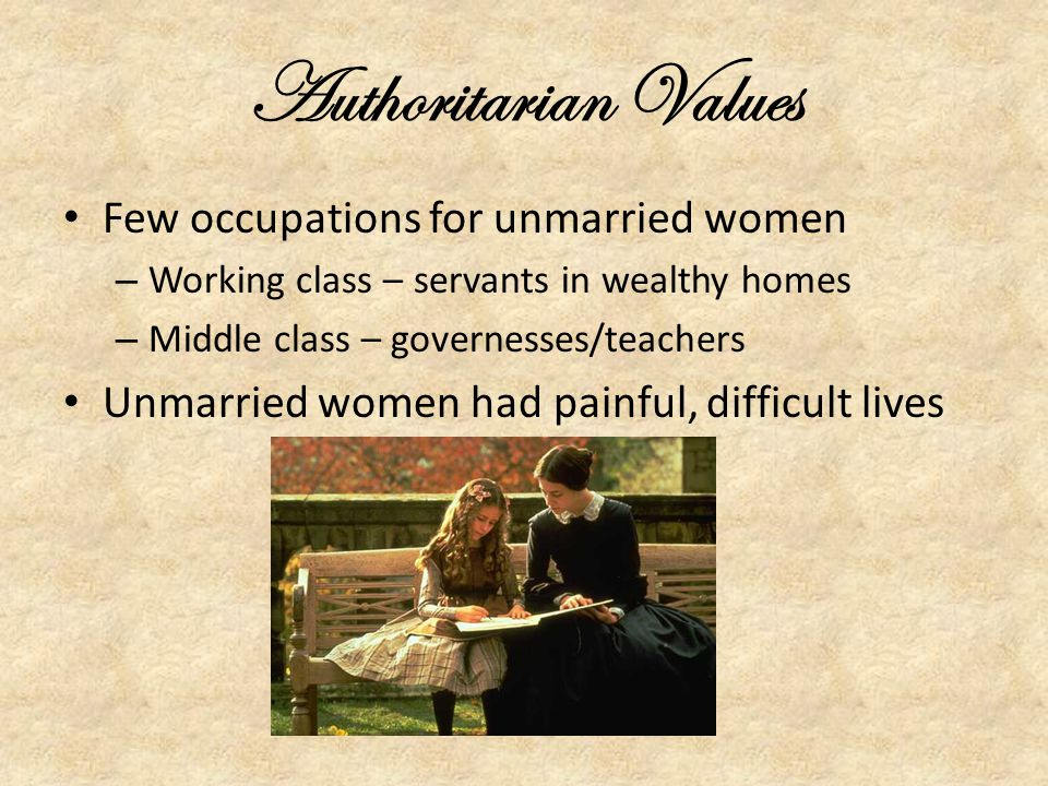 Authoritarian Values Few occupations for unmarried women
