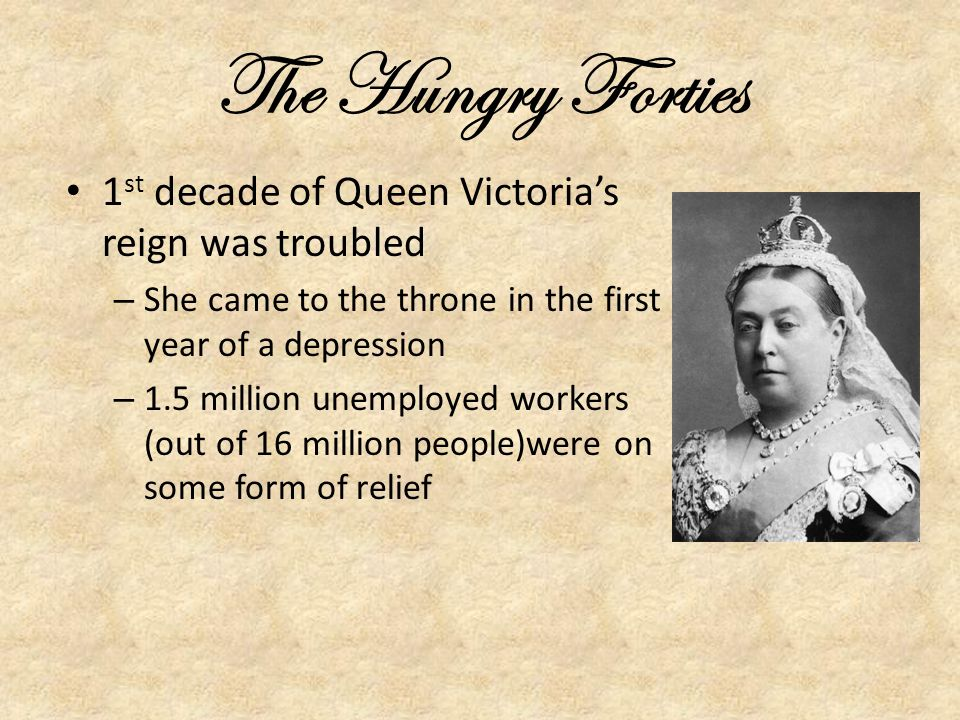 The Hungry Forties 1st decade of Queen Victoria's reign was troubled