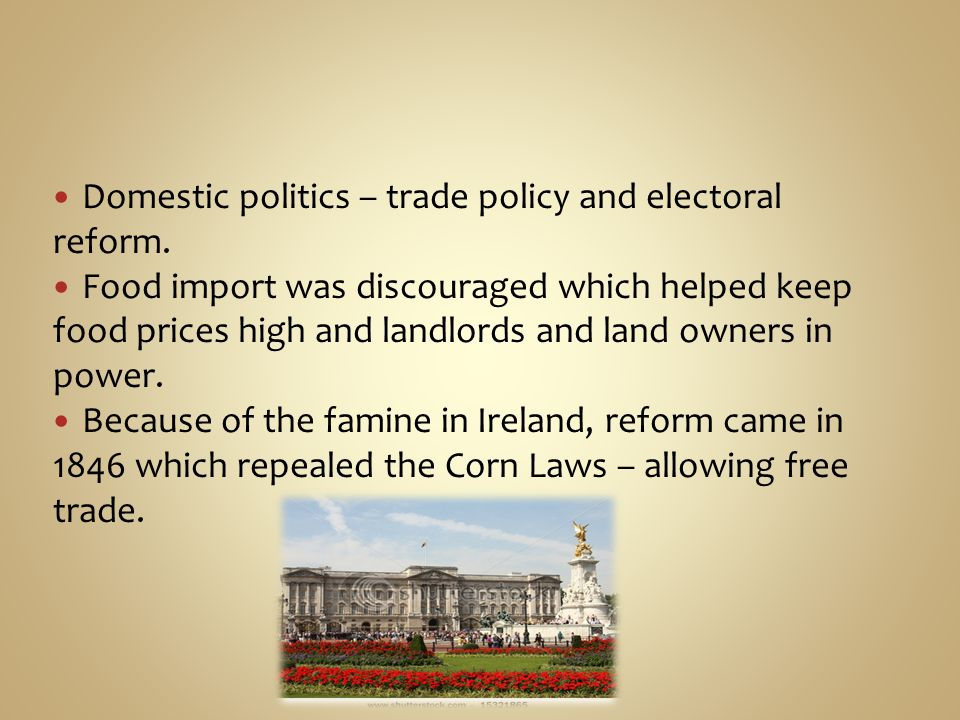 Domestic politics – trade policy and electoral reform.
