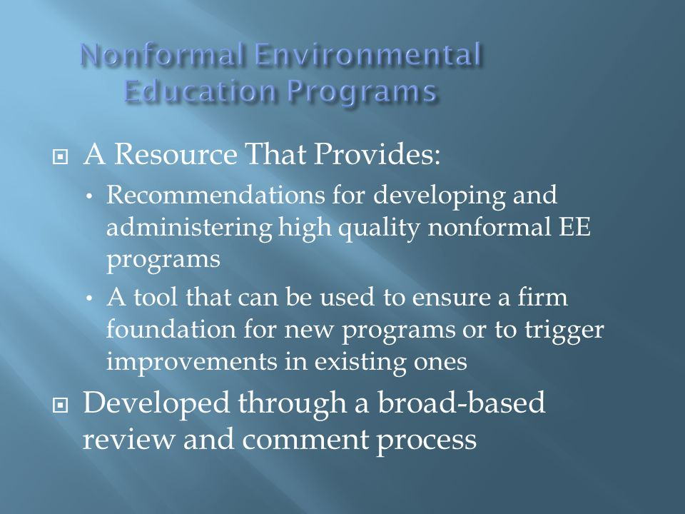 Nonformal Environmental Education Programs