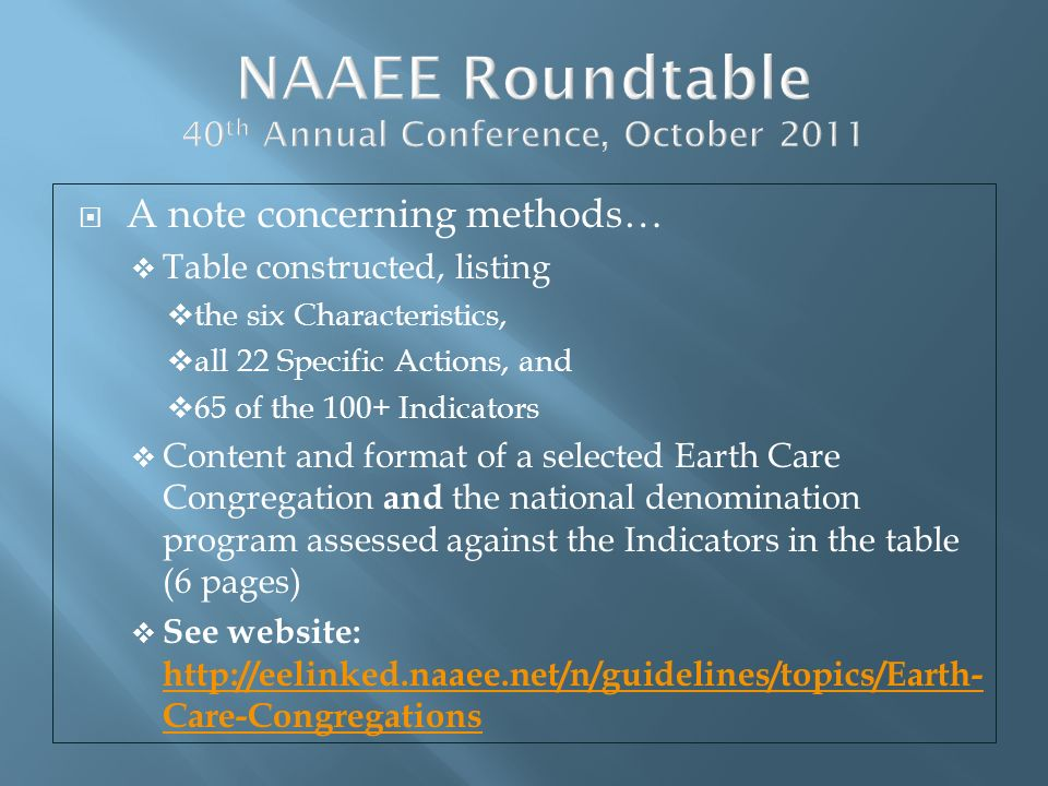 NAAEE Roundtable 40th Annual Conference, October 2011