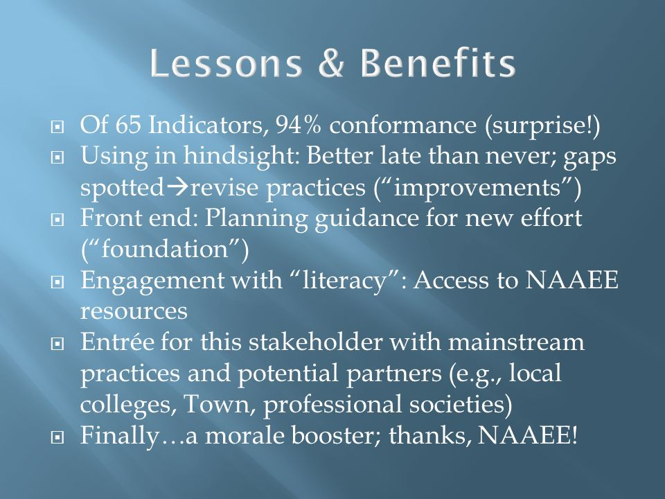 Lessons & Benefits Of 65 Indicators, 94% conformance (surprise!)