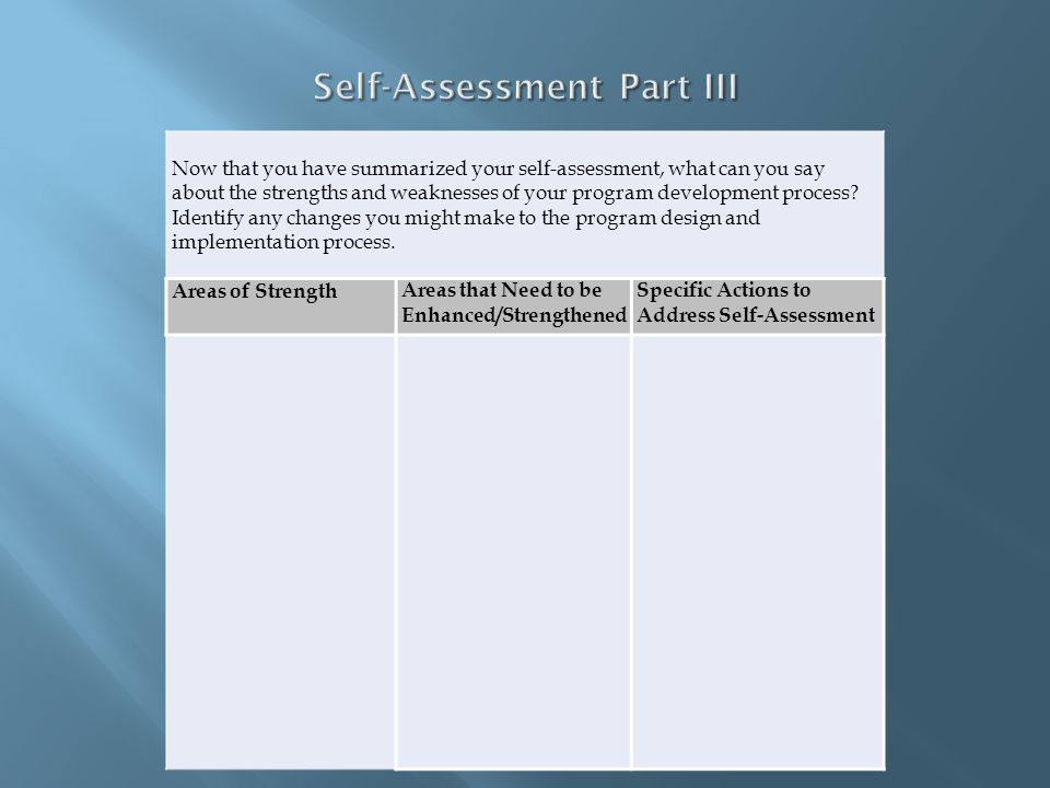 Self-Assessment Part III