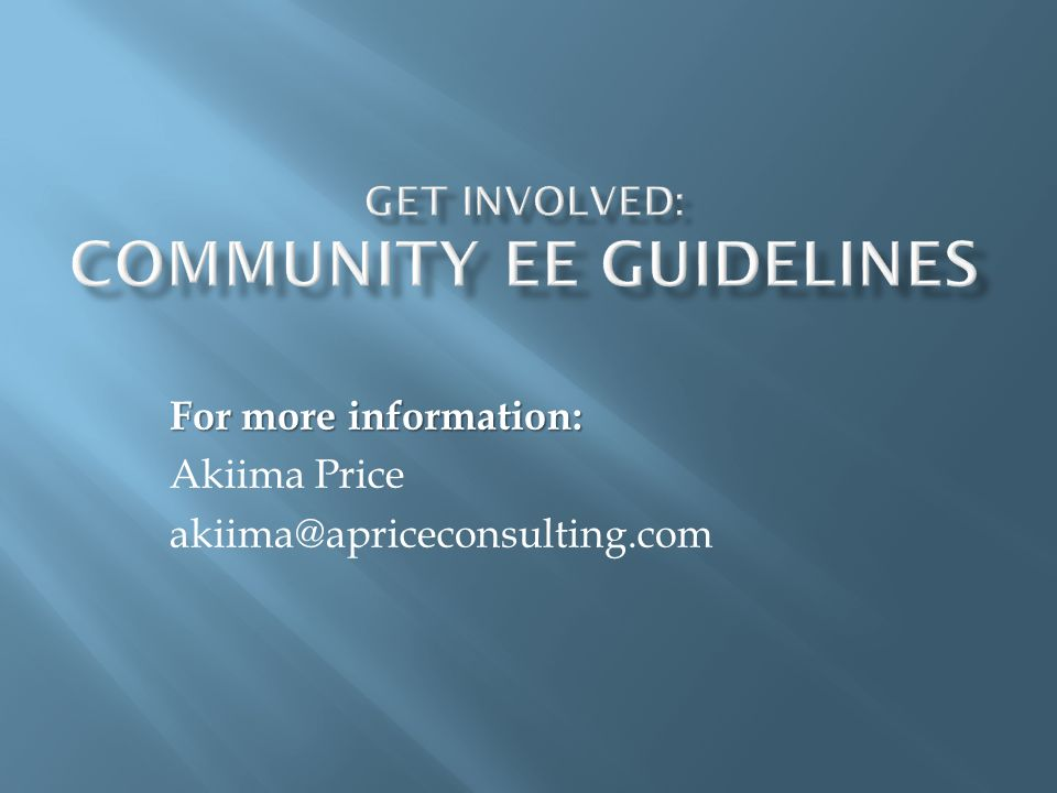 Get Involved: Community EE Guidelines