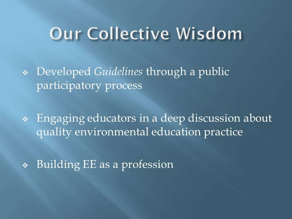 Our Collective Wisdom Developed Guidelines through a public participatory process.