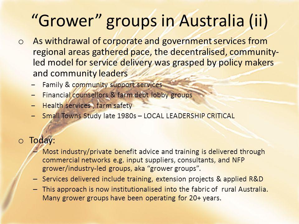 Grower groups in Australia (ii)