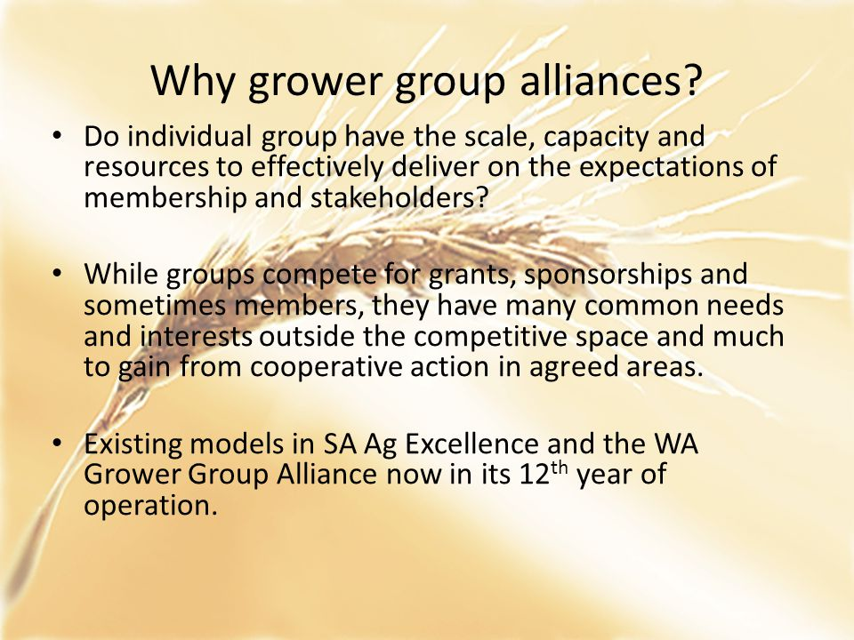 Why grower group alliances