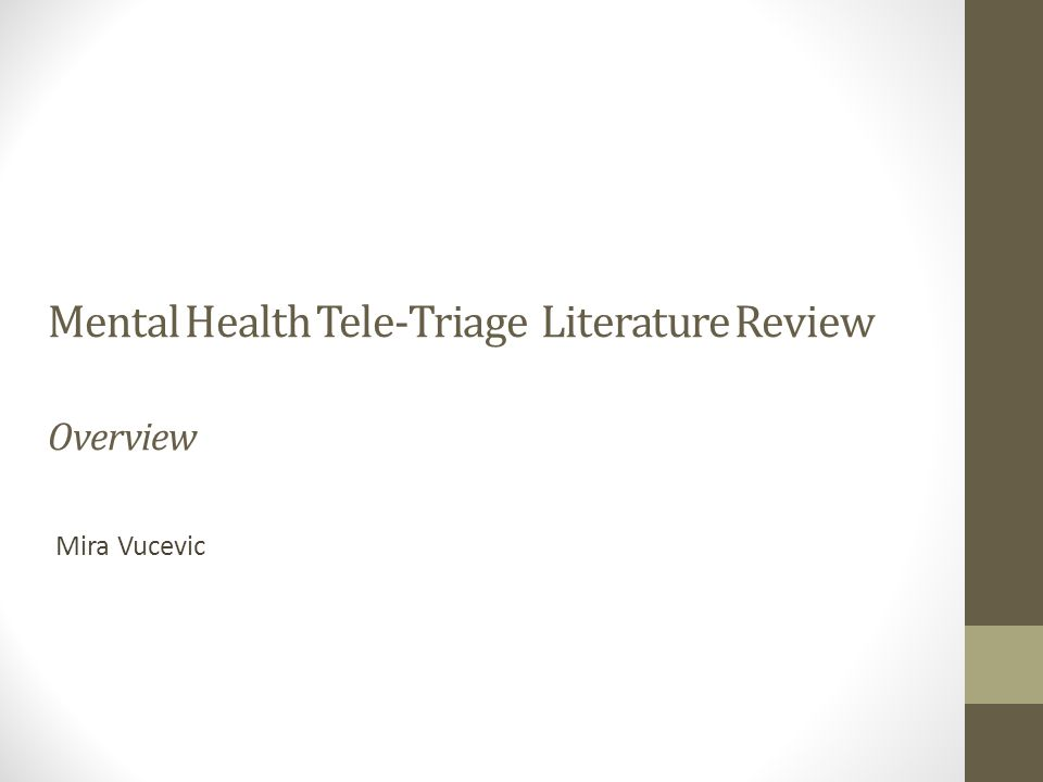 Mental Health Tele-Triage Literature Review Overview