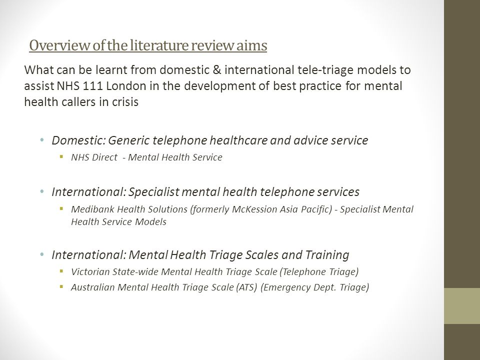 Overview of the literature review aims
