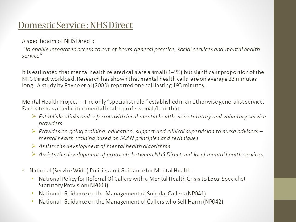 Domestic Service : NHS Direct