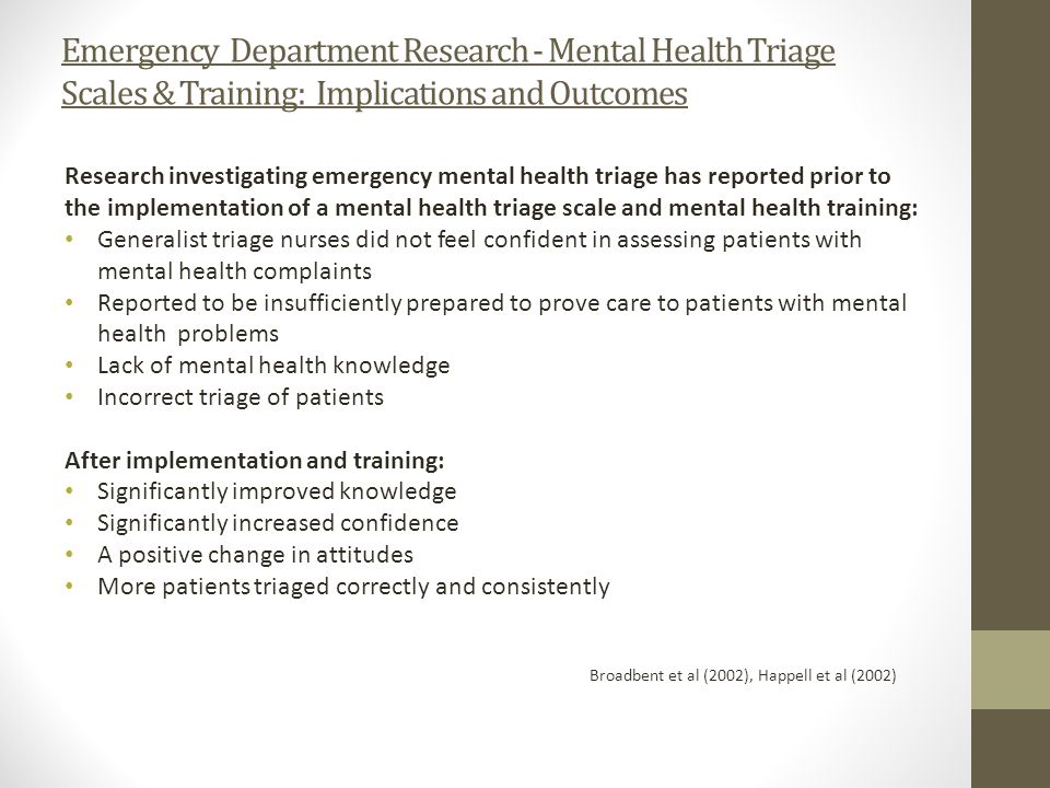 Emergency Department Research - Mental Health Triage Scales & Training: Implications and Outcomes