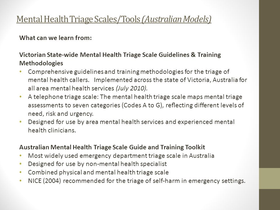 Mental Health Triage Scales/Tools (Australian Models)