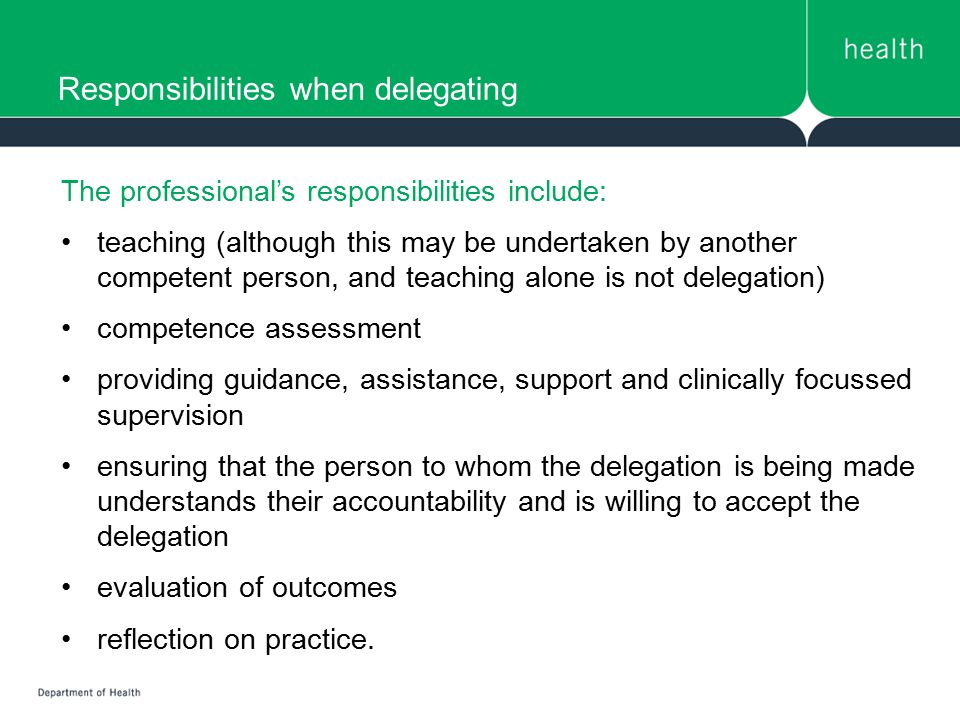 Responsibilities when delegating