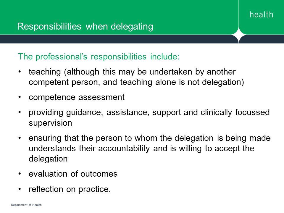 Responsibilities when delegating