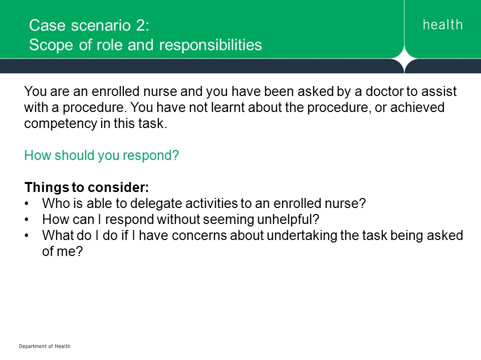 Case scenario 2: Scope of role and responsibilities