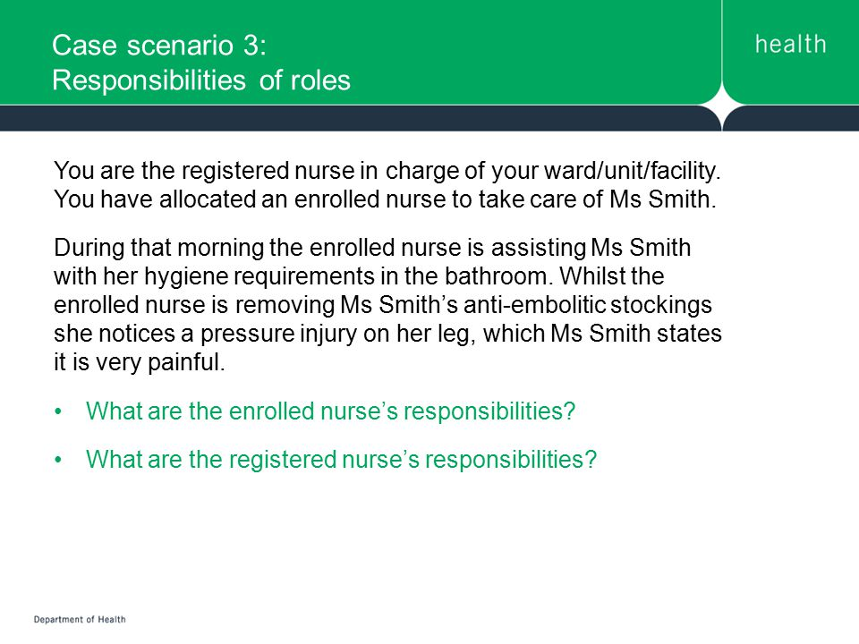 Case scenario 3: Responsibilities of roles