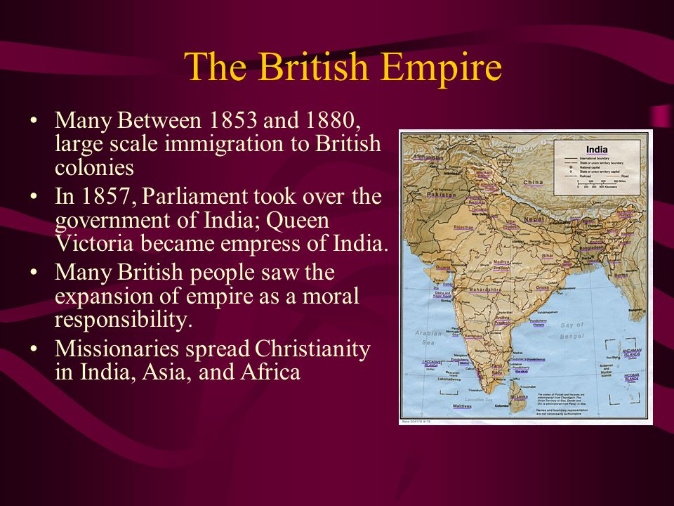 The British Empire Many Between 1853 and 1880, large scale immigration to British colonies.