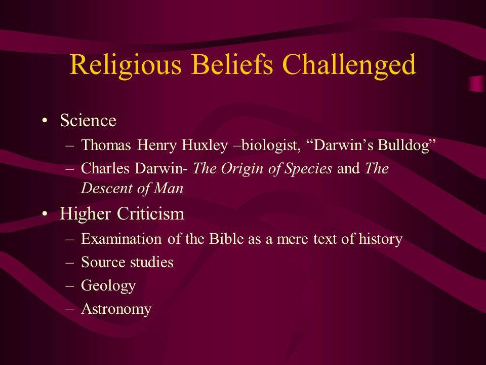 Religious Beliefs Challenged