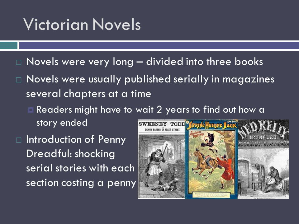 Victorian Novels Novels were very long – divided into three books