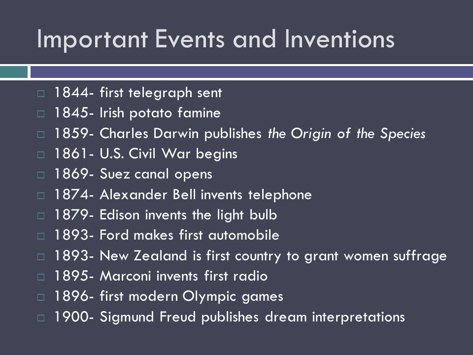 Important Events and Inventions