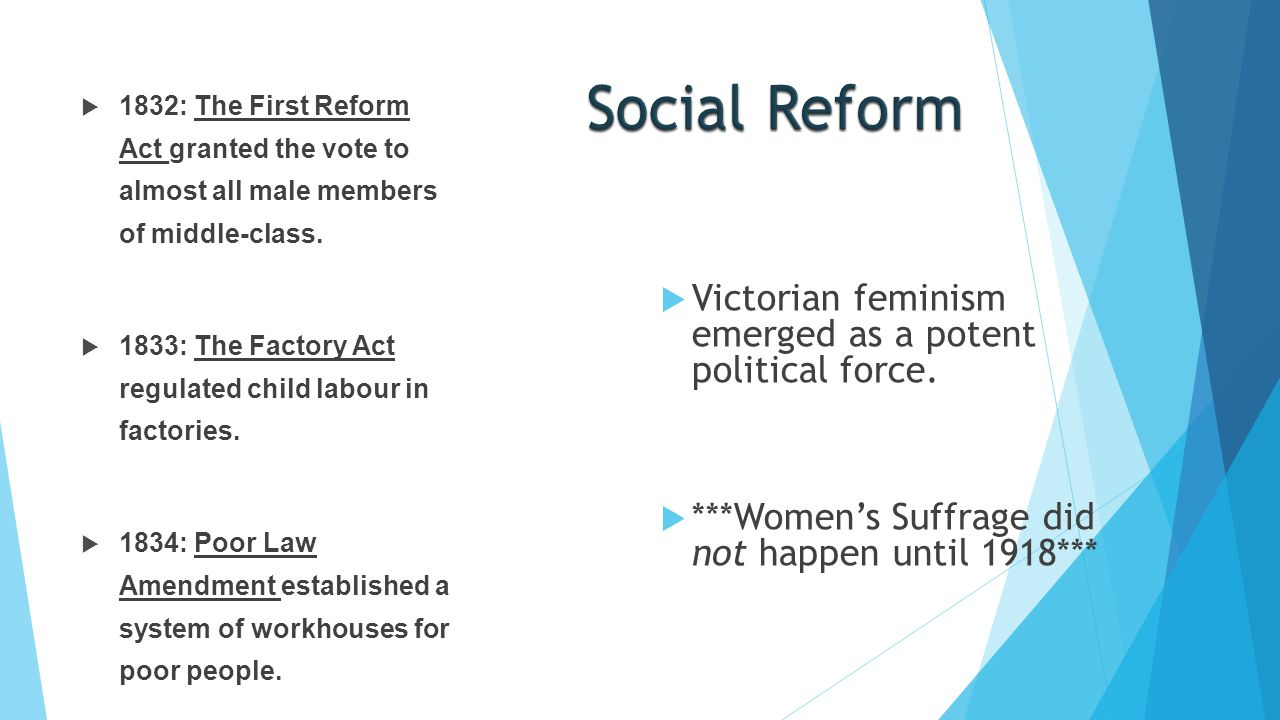 Social Reform Victorian feminism emerged as a potent political force.