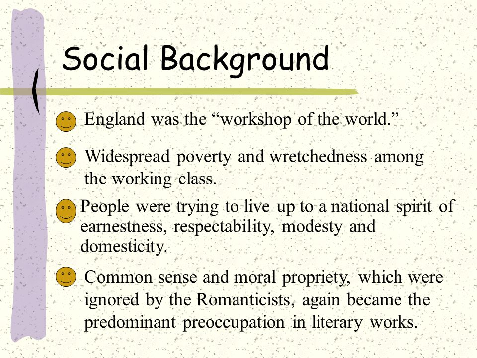 Social Background England was the workshop of the world.
