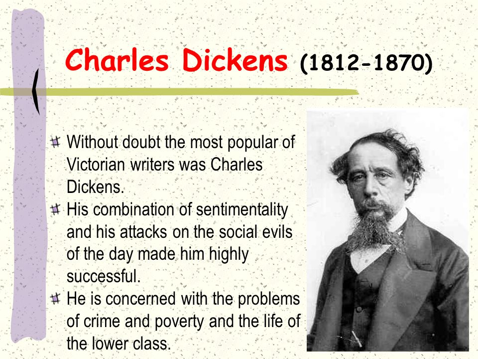 Charles Dickens (1812-1870) Without doubt the most popular of Victorian writers was Charles Dickens.