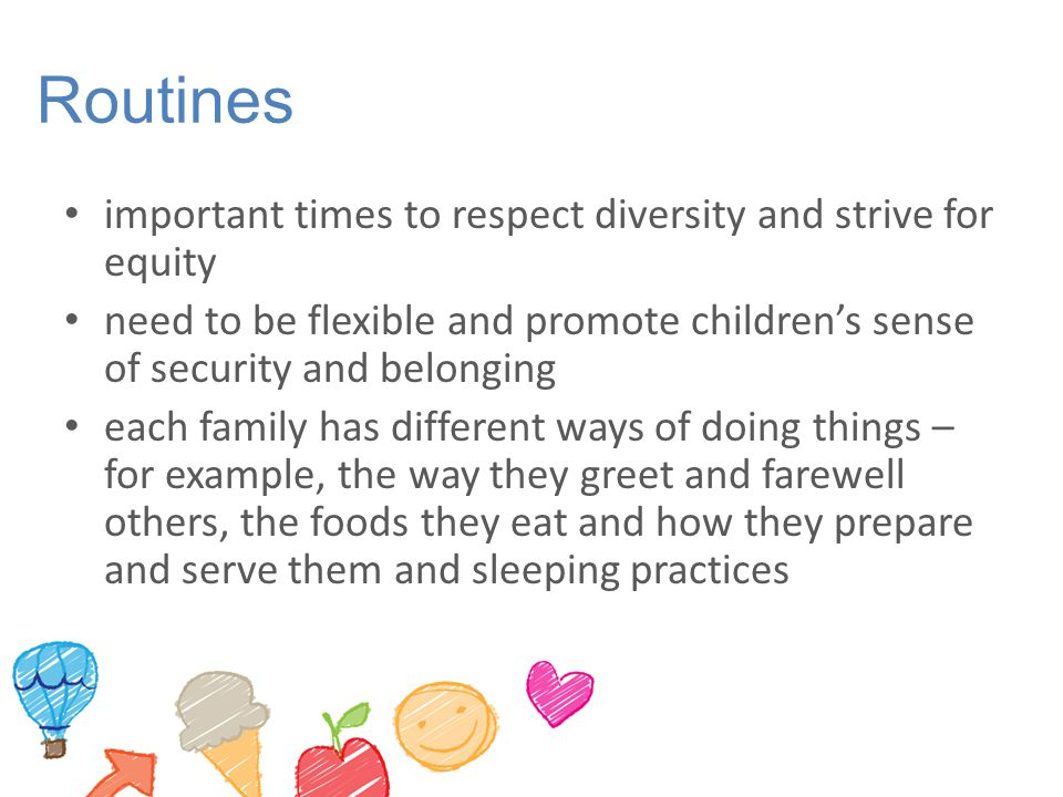 Routines important times to respect diversity and strive for equity