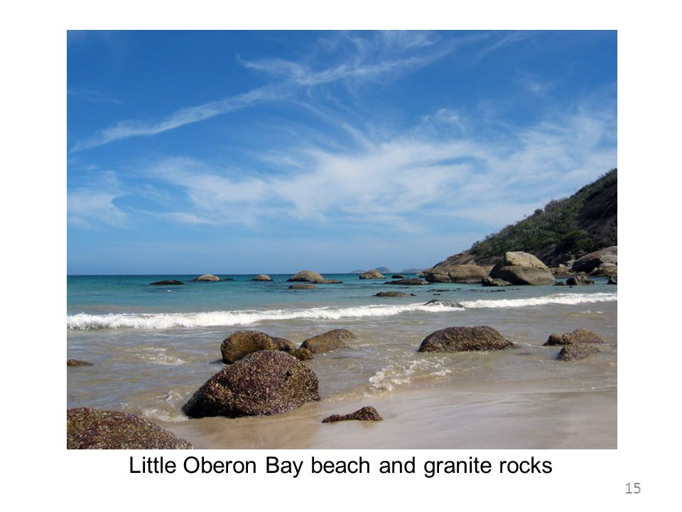 Little Oberon Bay beach and granite rocks