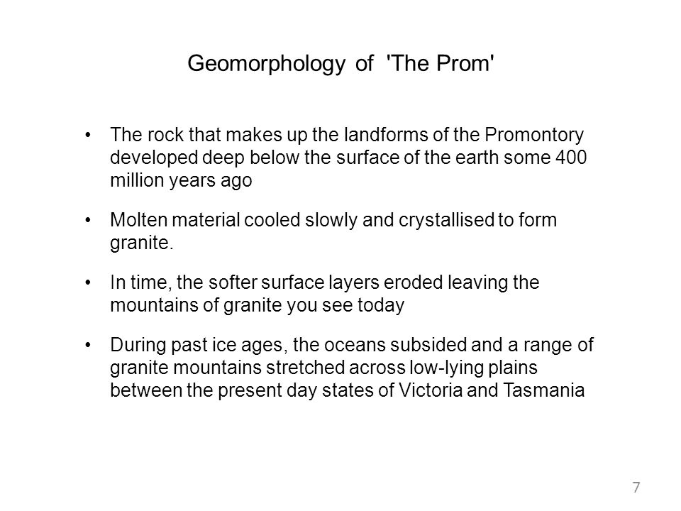Geomorphology of The Prom