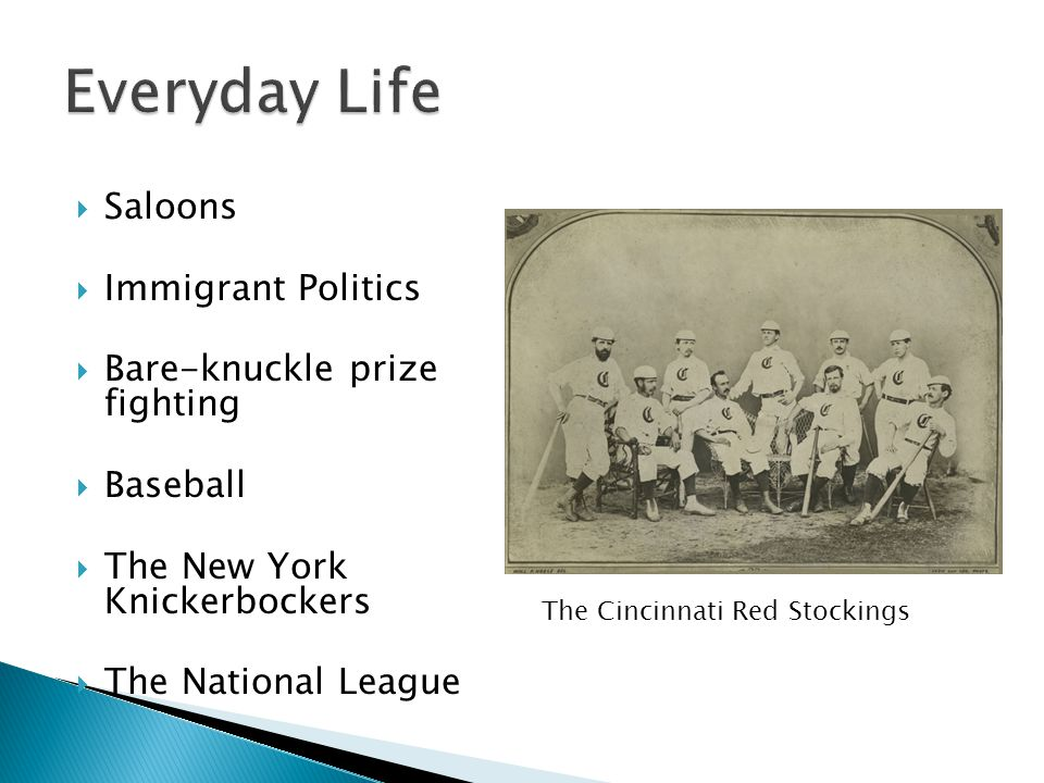Everyday Life Saloons Immigrant Politics Bare-knuckle prize fighting